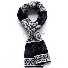 New style thick knitting pattern snowflake scarf for men