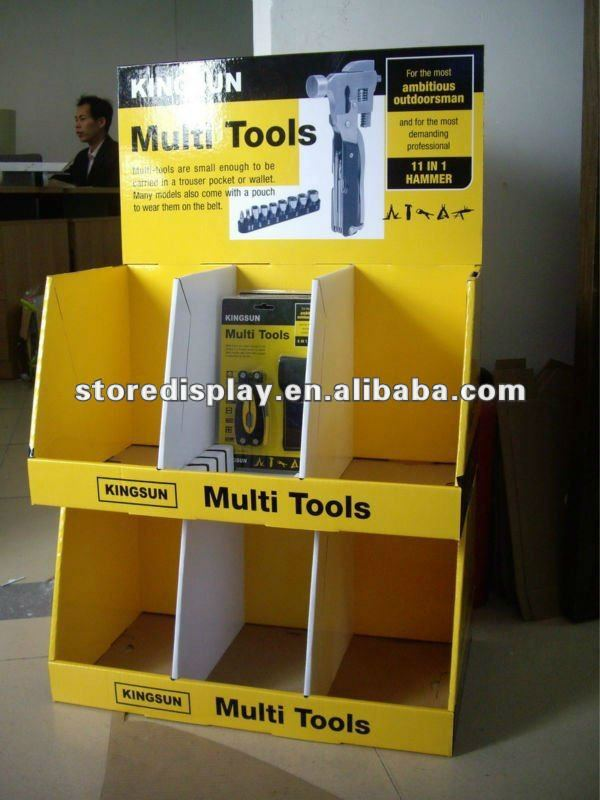 Yellow Retail Corrugated Cardboard Display with cells/display tray unit