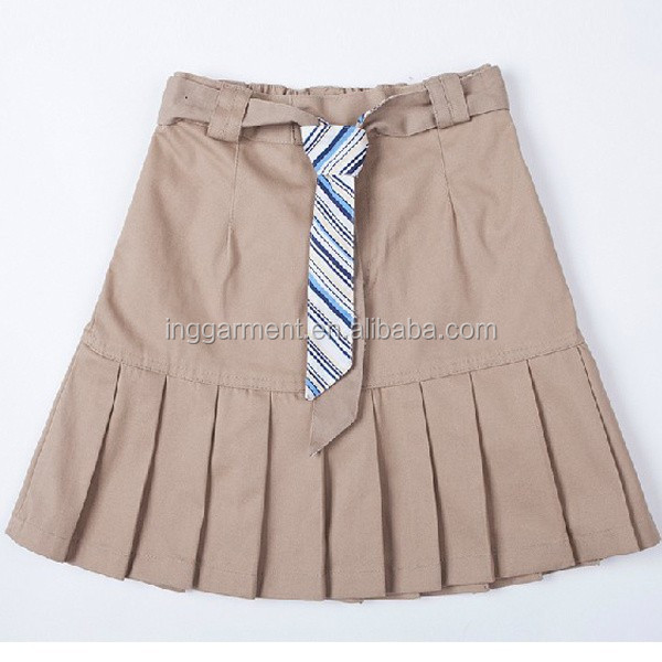 Girl Khaki School uniform Pleated Skirt