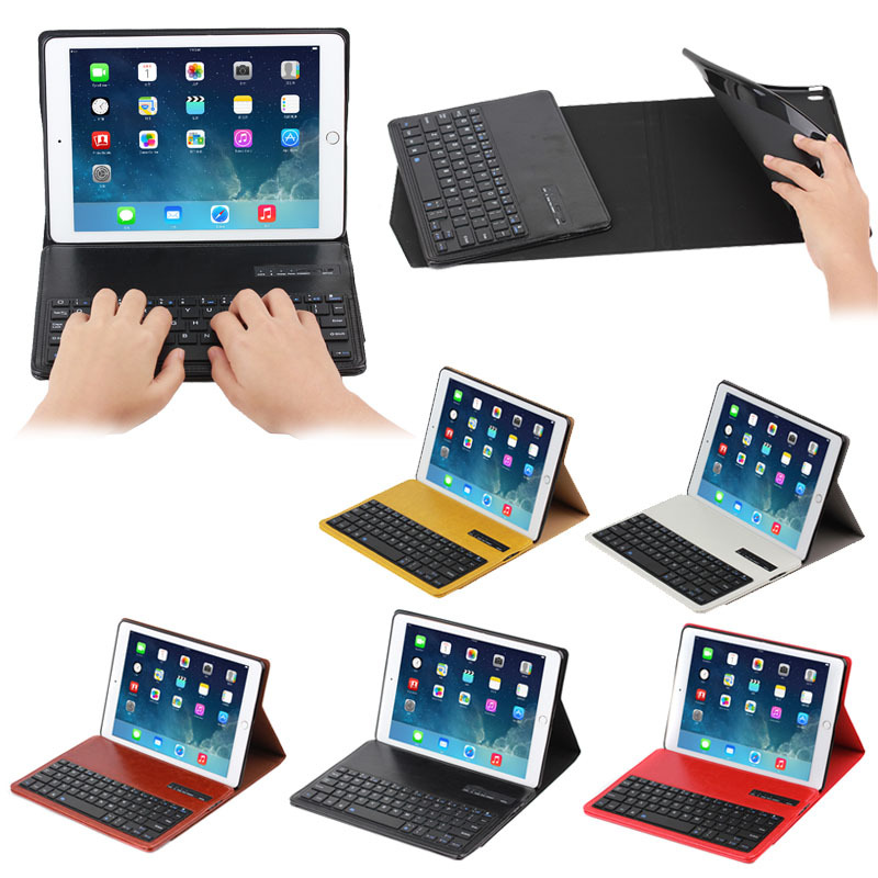 Crazy horse design leather cover inside tpu bluetooth keyboard case for iPad Air 2