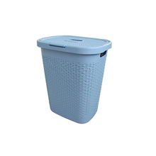 Eco-friendly factory price wicker plastic Laundry Basket with lids For hotel wholesale