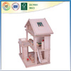 two-storey wooden house with four rooms playhouse