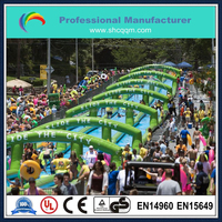 super long 1000ft triple lane slide the city inflatable
