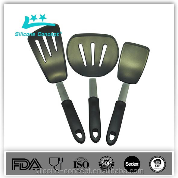 Cooking Tool Sets 3-Piece Set Chef Series Silicone Rubber with Stainless Steel Flexible Turner Spatulas