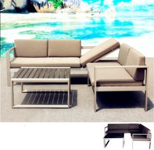 Alibaba Outdoor Popular polywood table top brushed aluminum European patio sectional sofa Garden corner lounge furniture
