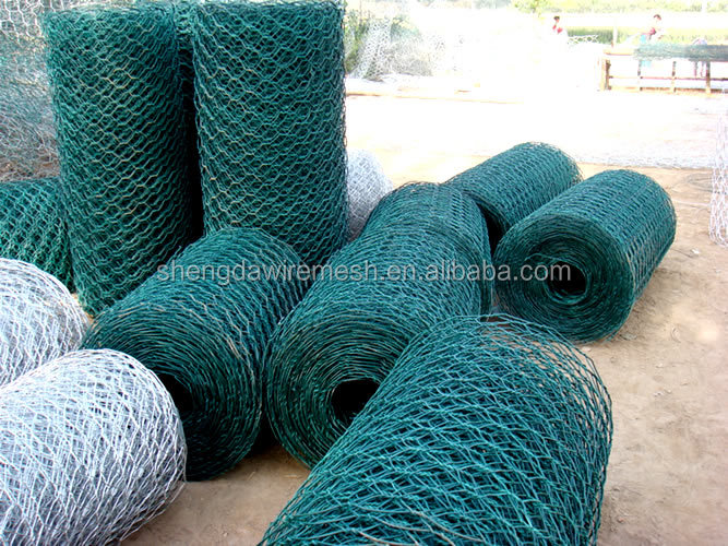 PVC coated green hexagonal wire mesh, bird cages, chicken cage