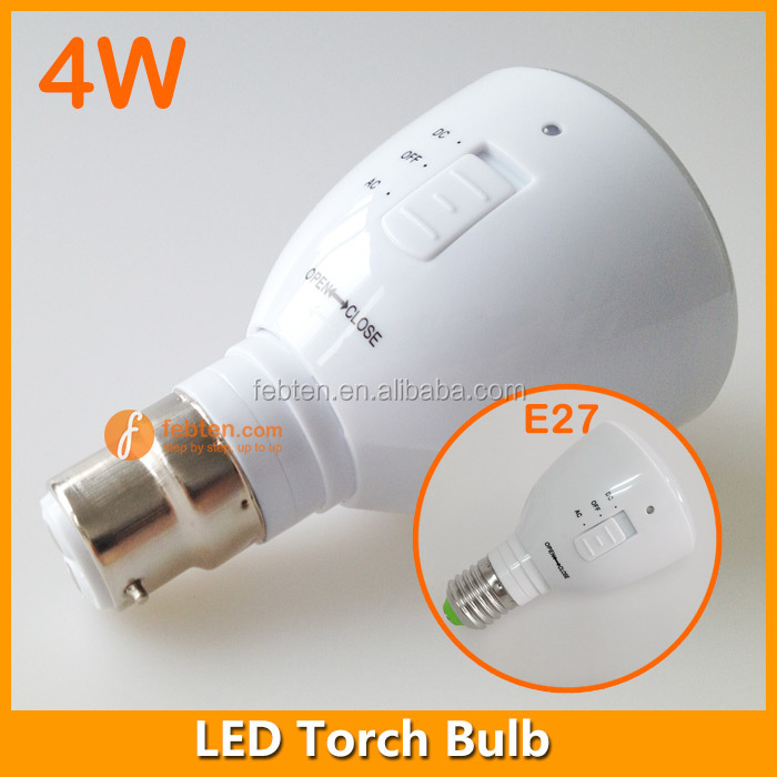 Eemergency lighting time 4W remote control rechargeable LED bulb in E27 B22 lamp socket