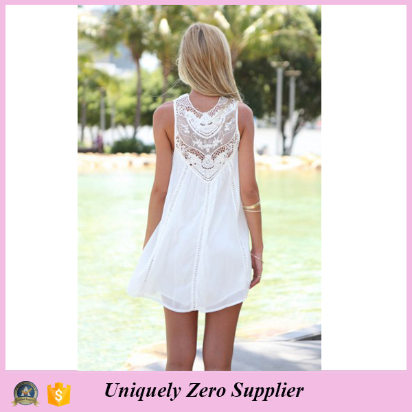 2016 Summer Hot Sale White Chiffon Spliced Lace Round-neck Sleeveless One-piece Dress