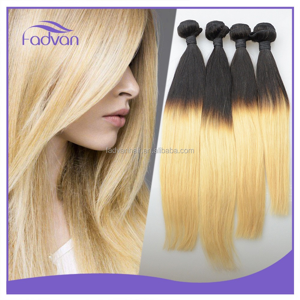 Fashion Lady Straight Hairstyle Colored Two Tone Virgin Human Brazilian Hair Extension