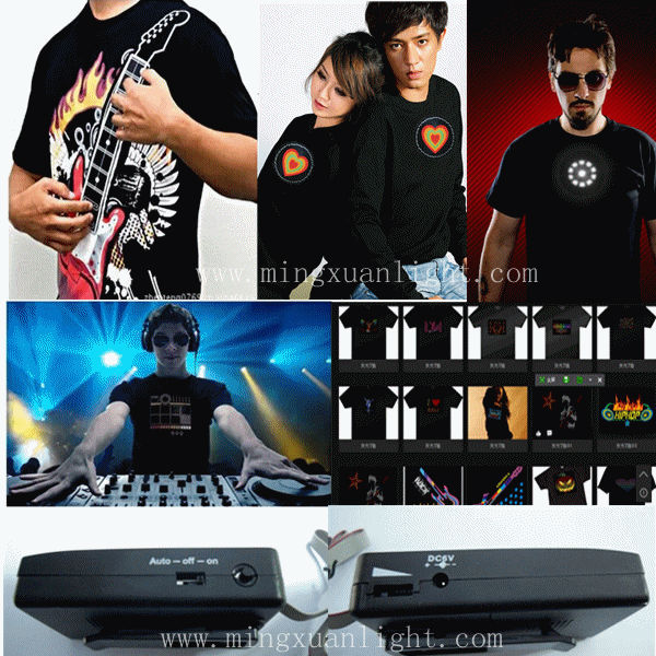 Novelty party music active 100% cotton china led t-shirt
