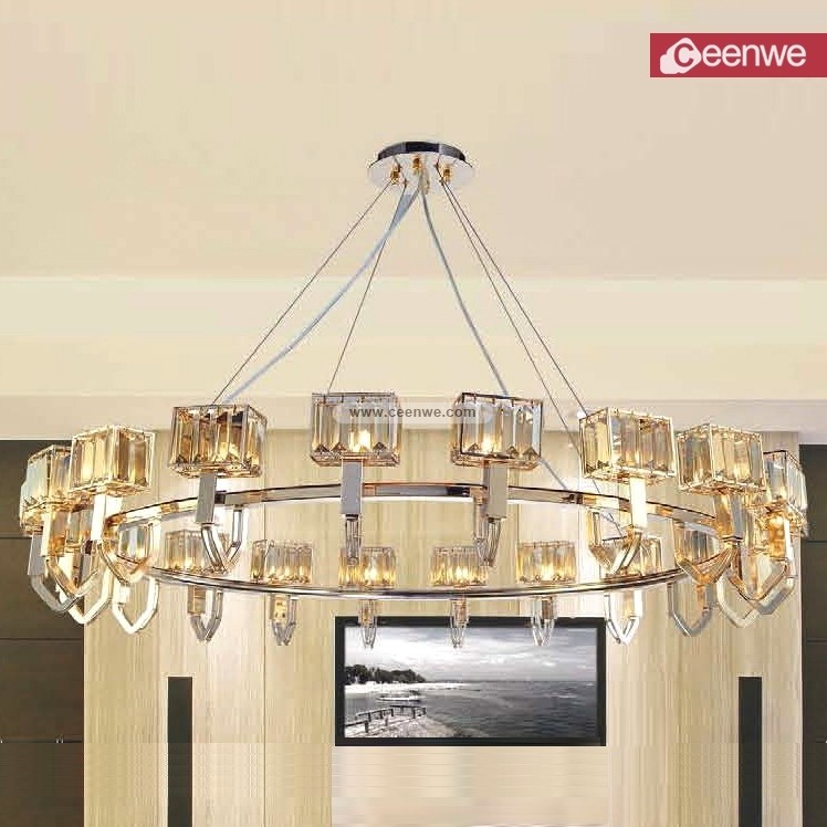 lustres modernes led Industrial Luxury Grand Hotel Gold Cognac 20 Lights Metal Crystal round chandelier