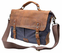Cotton Canvas Handbag Genuine Leather Cross Body Laptop Messenger Shoulder bag