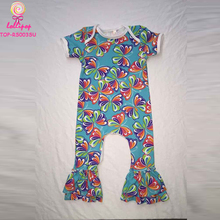 Wholesale Baby Clothes Butterfly Pattern Printed Ruffle Icing Romper Unisex Baptism Boys Girls Short Sleeve Baby Onesie Clothes