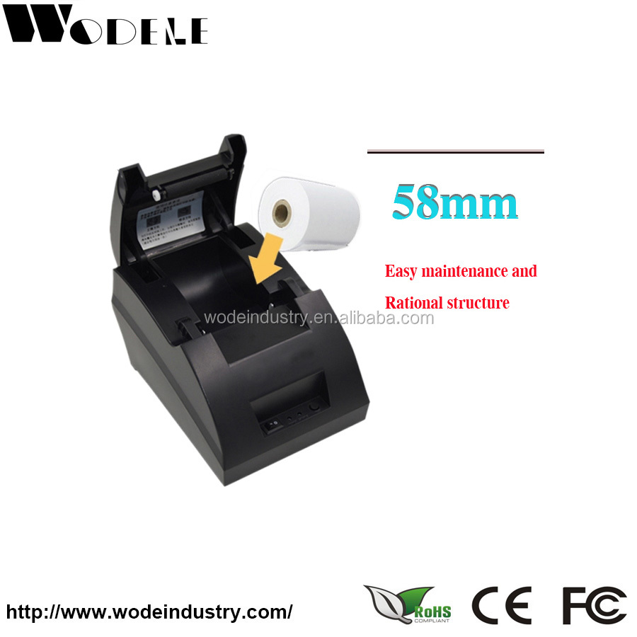 WODELE SERIAL 58mm pos printer Thermal Receipt Printer w/ AC + cable