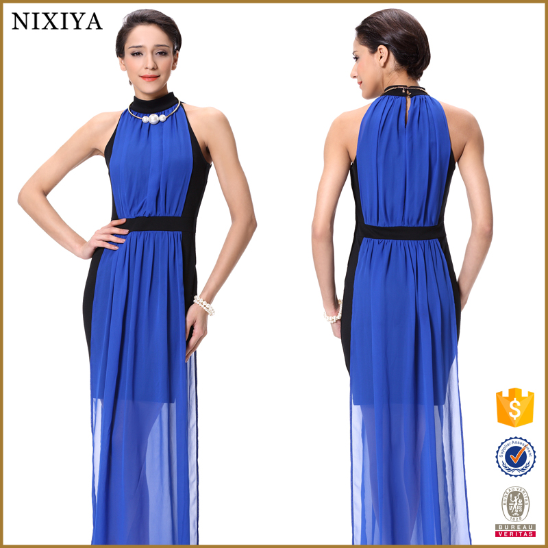 Model Of Casual In Chiffon Black Blue Maxi Dress 2015