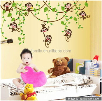 new cartoon pvc wall decal child wall sticker nursery wallpaper home decor wall art vine branch monkey