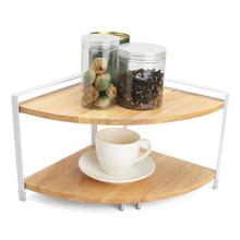 Dual Layer Kitchen Corner Shelf Spice Racks Wood Storage Shelves for Seasoning Bottles Flavoring Household Bathroom Organizer