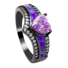 YIWU Dropshipping Charming Purple Opal Ring Colorful Jewelry Black Gold Filled wedding Rings