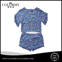Latest fashion printed short sleeve summer cotton women suits