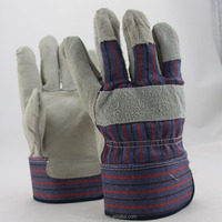 practical labor split cowhide leather fingertip protection gloves