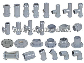 PVC Rubber Elbows Fitting for Water Supply with Rubber Ring Joint DIN Standard PN10