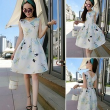 F40176A Wholesale apparel korean fashion slim v neck printed dresses for women
