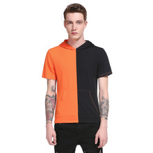 Mens Hip Hop Color Block Short Sleeve T Shirt Pullover Hoodie