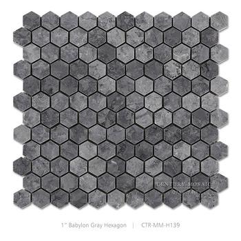New Home Marble Design 1 Inch Grey Hexagon Mosaic Tiles