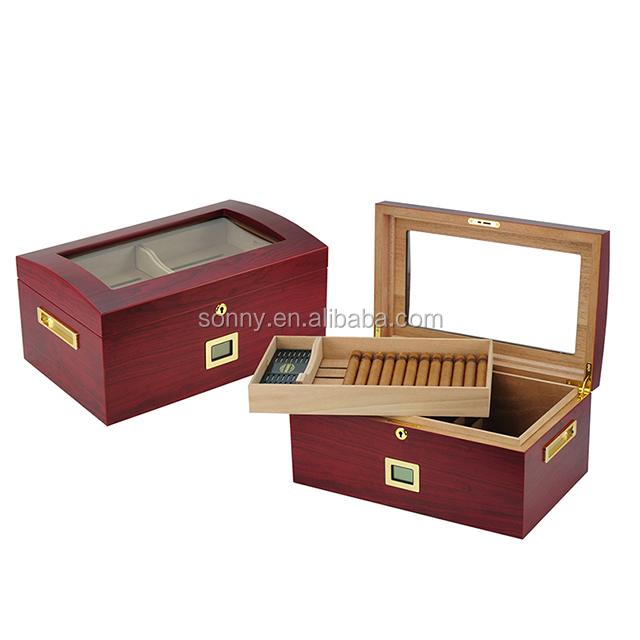 100 Cigars Glass Top Humidor with Tray and Gold Frame External Digital Hygrometer.