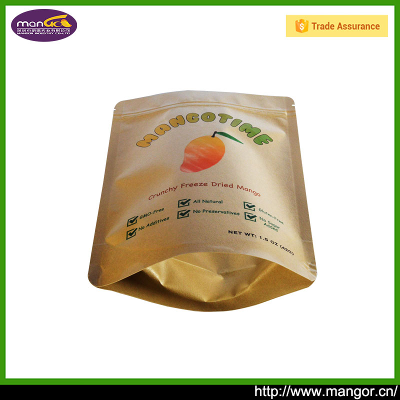 Online Shopping India Stand Up Kraft Paper Pouch Brown Factory For Dried Hawthorn Mangosteen Packing