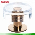 2.5 inch round acrylic drawer knob with brass/chrome base