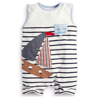 Sleeveless Baby Rompers Captain Navy Strip Cute Bodysuits Newborn Boy's Jumpsuit