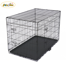 "20"" Folding Metal Dog Crate w/ Divider Panel, Floor Protecting ""Roller"" Feet & Leak-Proof Plastic Tray; 20L x 12W x 14H Inches"
