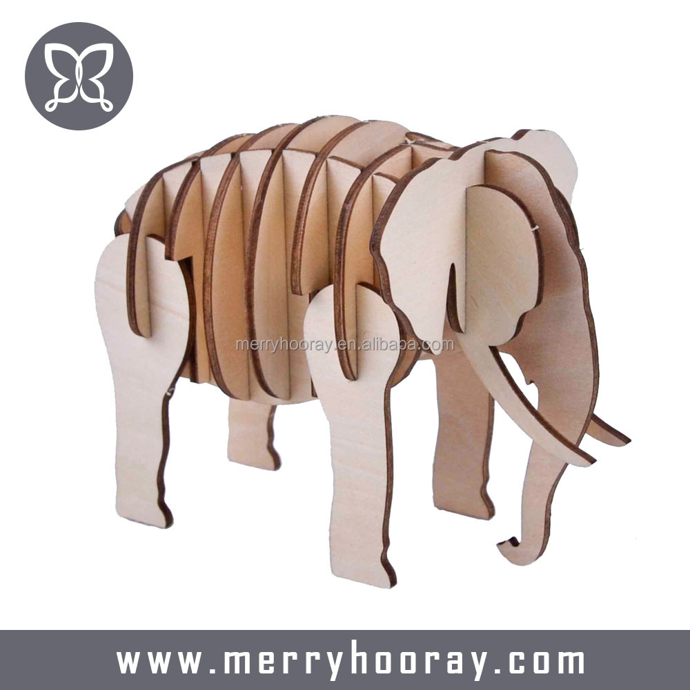 DIY Kids Elephant animal wooden 3D Puzzle