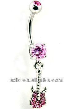 cz stone belly piercing navel dangling guitar jewelry