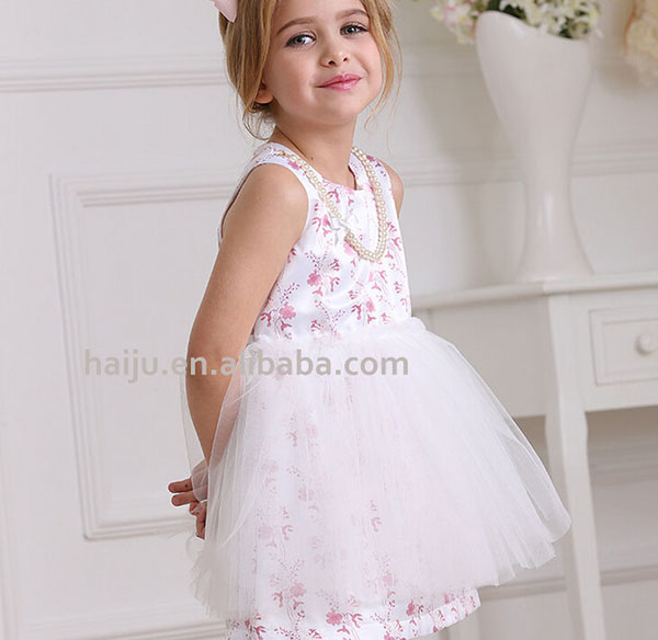 New fashion net cotton frock design for baby girl