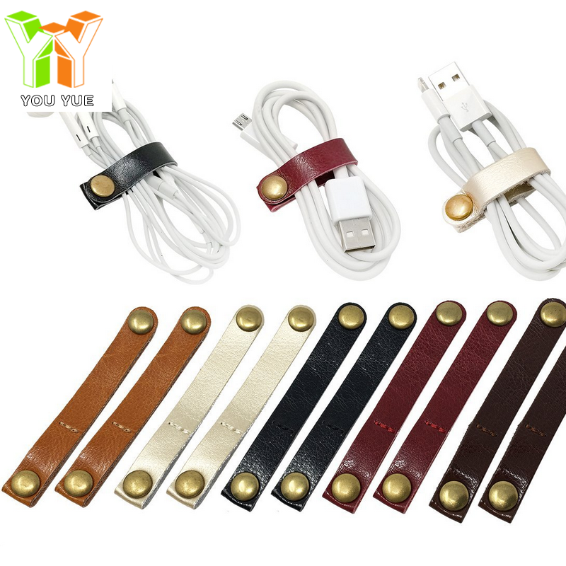 Promotional Gift Leather Cable Organizer Wire Winder for USB Cable