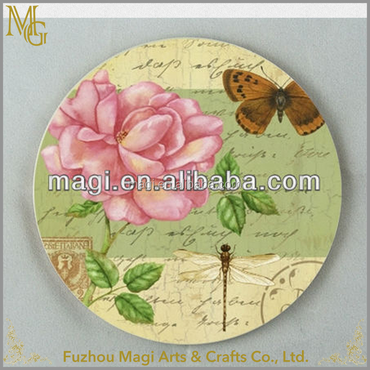 Customized Decorative Round flower ceramic coaster wholesale