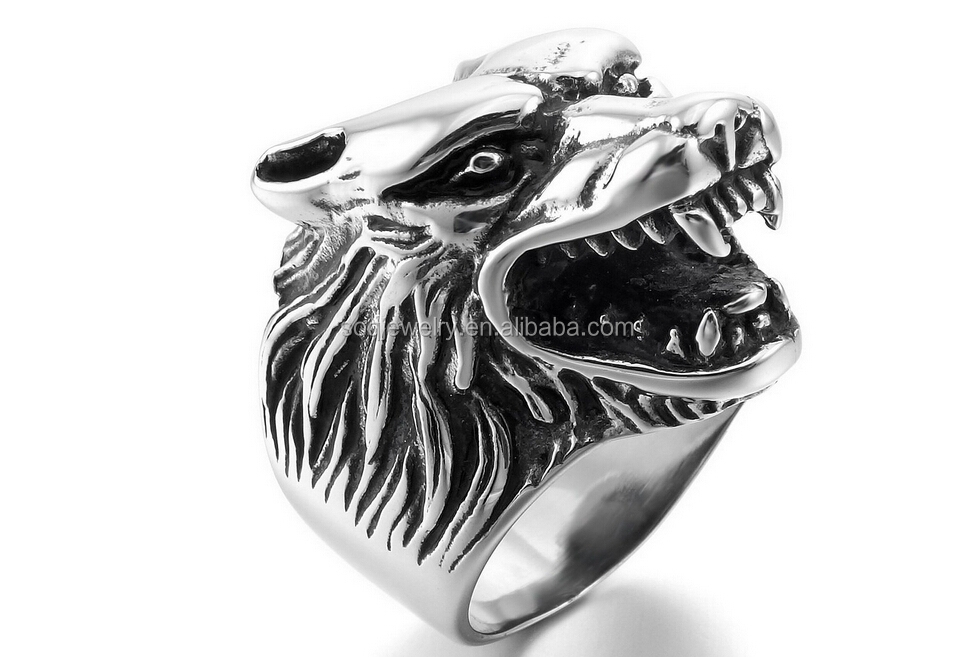 SSR26 custom high quality stainless steel cool wolf ring stainless steel jewelry alibaba hot sell
