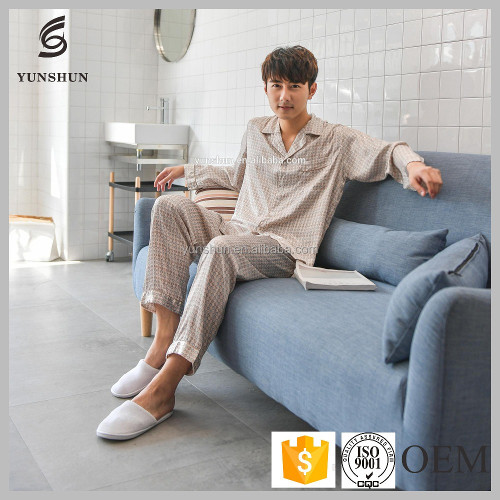 Latest spring autumn nighty designs silk mens sleeping suit pajamas
