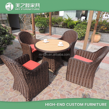 Modern ratan 4 seater dinning table and chair rattan effect garden ridge outdoor furniture