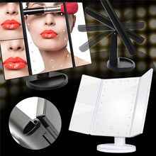 Trifold Touch Screen LED Makeup Mirror With 1x/2x/3x Magnification USB Charging