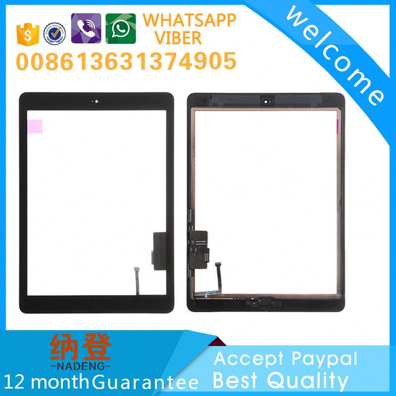 AAA quality glass for ipad air,for ipad 5 screen digitizer with home button Accept Paypal