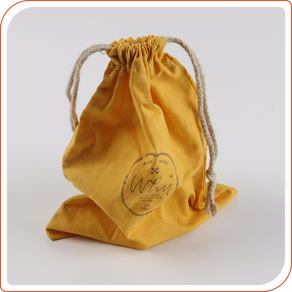 Custom cotton jewelry drawstring pouch with logo
