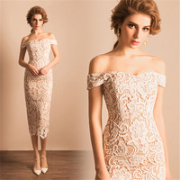 Cestbella In Stock OEM Service Turkish Style Short Ivory Off-Shoulder Crocheted Evening Dress