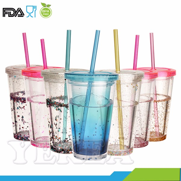 16 oz Double Wall Plastic Refreshing Ice Cold Drinking Frosty Ice Tumbler