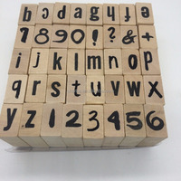 Wood Rubber Alphabet Stamp