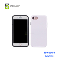 used sublimation printing blank white 3d style pc+tpu material 2 in 1 sublimation cell phone case for iphone7 plus