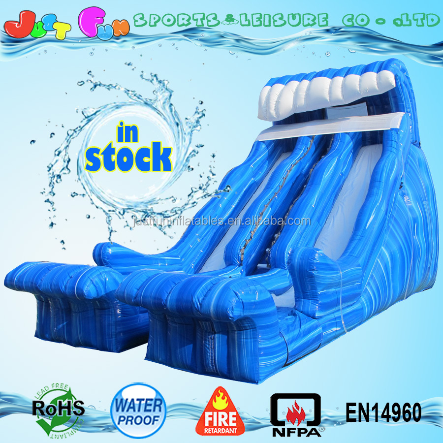 20'H curved inflatable water slide with pool, giant inflatable water slide for adult good prices