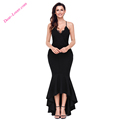 Black Evening Dresses Crisscross Spaghetti Straps Hi-low Mermaid Dress Party Dress